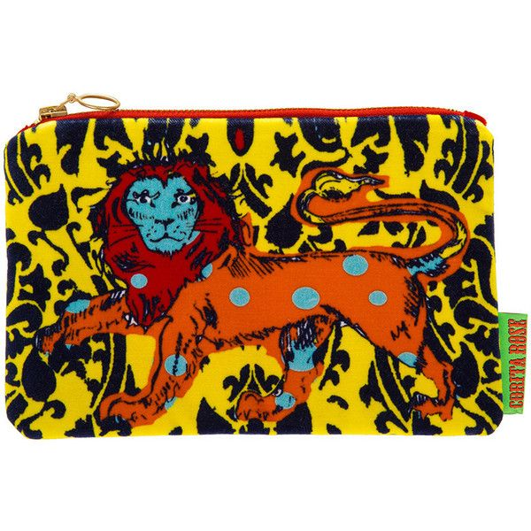 Corita Rose Spotty Lion Clutch - Orange/Yellow (£71) ❤ liked on Polyvore featuring bags, handbags, clutches, yellow, polka dot handbag, yellow purses, polka dot purse, orange clutches and orange purse