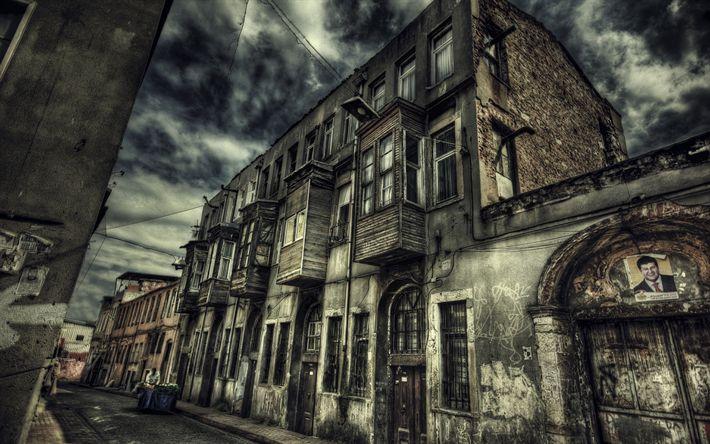 Scarica sfondi Istanbul, strade, Turchia, centro storico, antica casa, hdr