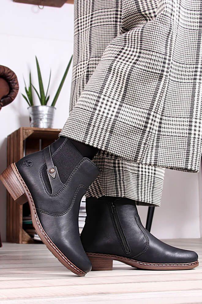 mehr bestellen Damen Stiefelette Schwarz Schuhe Rieker