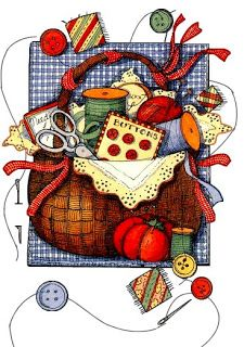 dibujos coloreados cestos de costura