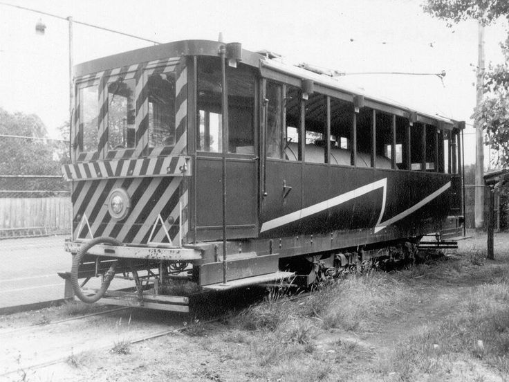 Ballarat_trackcleaner at the depot in December 1967. Originally a Sebastopol car, Tram 23, is now at the Bylands Museum.