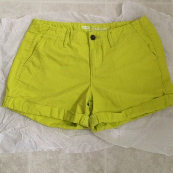 Shorts Bright yellow (lime tint?) boyfriend shorts from Old Navy. Worn just a couple of times then packed away. No rips, tears, or marks. Old Navy Shorts