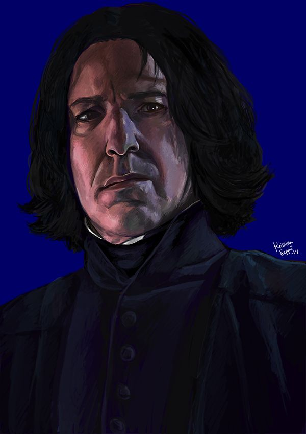 Alan Rickman as J.K. Rowling's Severus Snape in the Harry Potter movies. Painted in 2014.