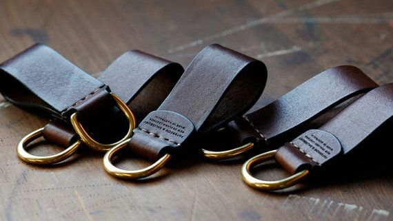 Leather Keyring Leather Keychain Solid by patersonandsalisbury
