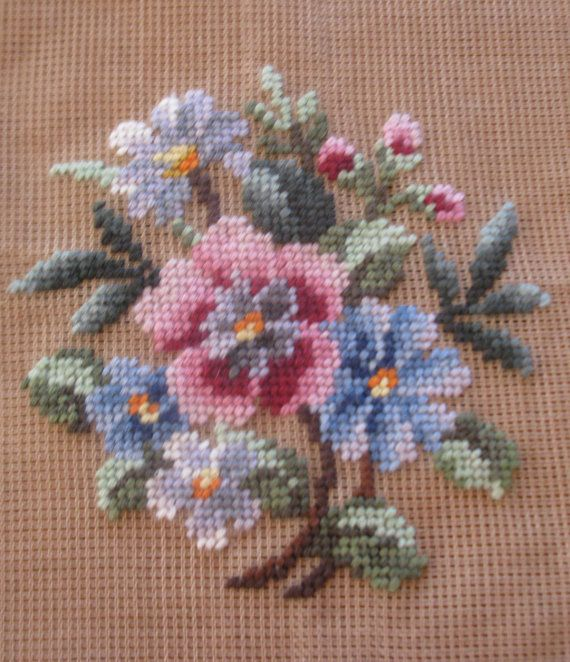 Vintage pre-worked needlepoint. Bouquet. by LegacyTextileCrafts
