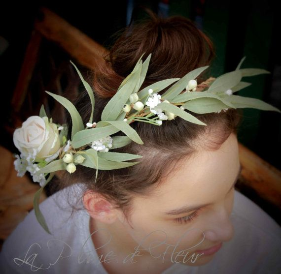 Gumnut Girl Silk flower and foliage crown. Rose by LaPlumeDeFleur