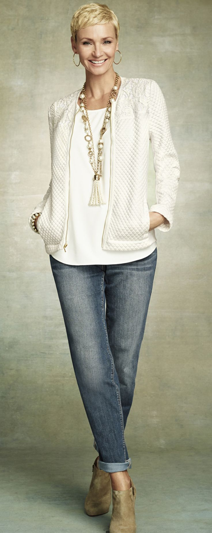 Winter White. Chico's Quilted Pieced Lace Jacket.