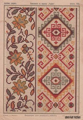 """Рисунок вышивки крестом. Приложение к журналу """"Родина"""", август 1904. #вышивка_крестом #crossstitchdesign"""