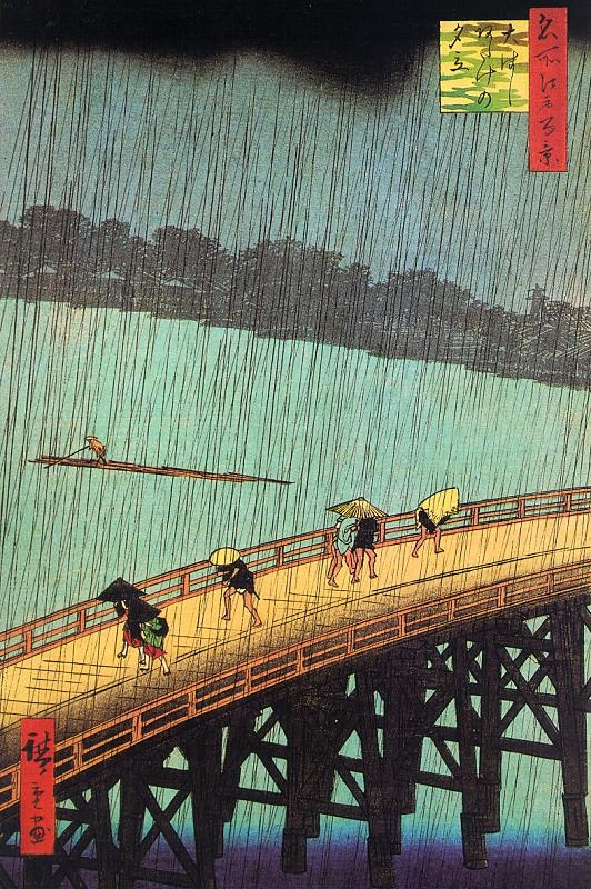 Hiroshige (1797-1858), Sudden Shower over Shin-Ohashi Bridge at Atake, from «One Hundred Views of Edo» (1856).