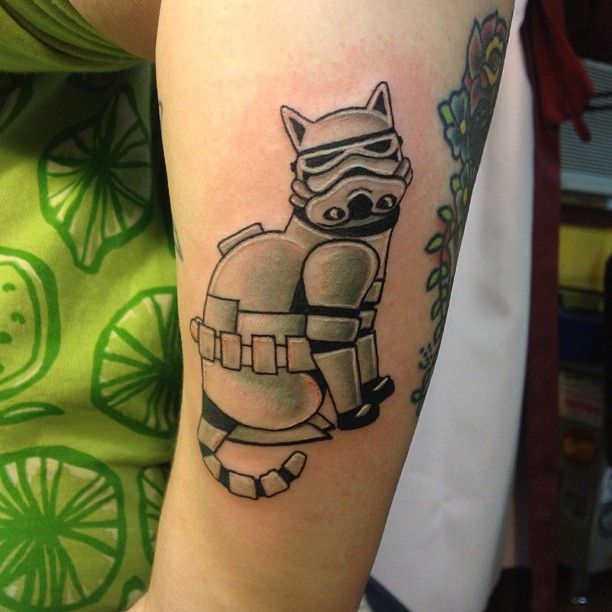 .@emilynewgent | awesome! #cattoo #cattattoo #starwars tattoo stormtrooper cat! tattoo based on a graphic design- couldnt find artists name!
