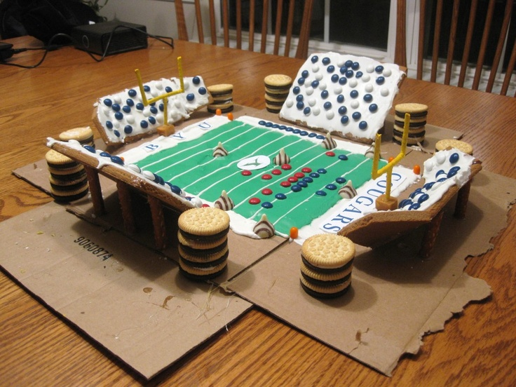 football stadium gingerbread house + supply list. definitely doing rice-eccles next year!