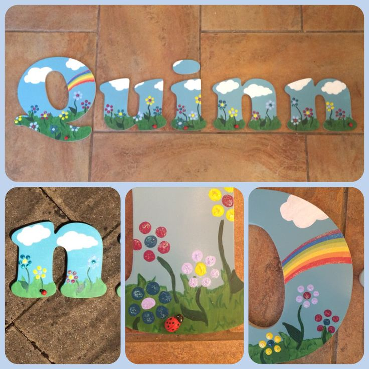 Wooden letters from Bits by Beth   Hand painted custom wooden letters perfect for a child bedroom or nursery. Any theme can be done!   www.BitsByBeth.co.uk   Www.Facebook.Com/bitsbybethanyrose  #summer #rainbow #flowers