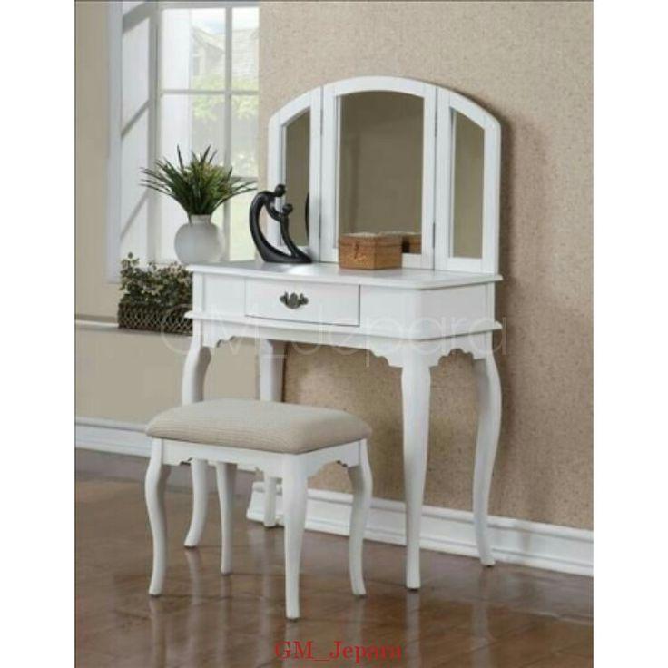 Meja Rias Putih Queen Leg, meja rias jati, meja rias lampu, meja rias modern, meja rias kayu, meja rias hello kitty, meja rias anak, meja rias putih