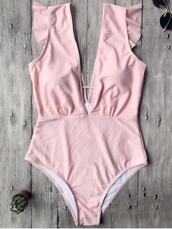 $15.49 Ruffles Plunging Neck One Piece Swimsuit - PINK M
