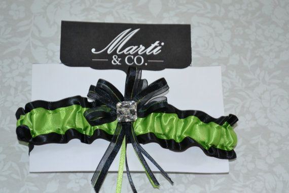 Wedding Garter Lime Green and Black  Wedding by MartiMaginnis, $25.50