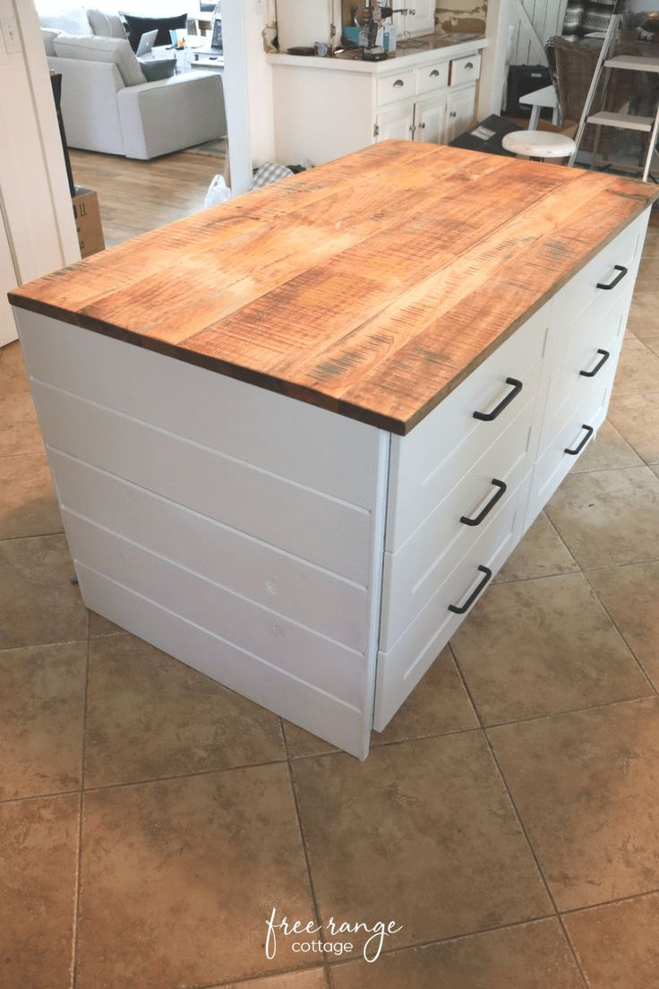 Ikea DIY Kitchen Island with Thrifted Counter Top
