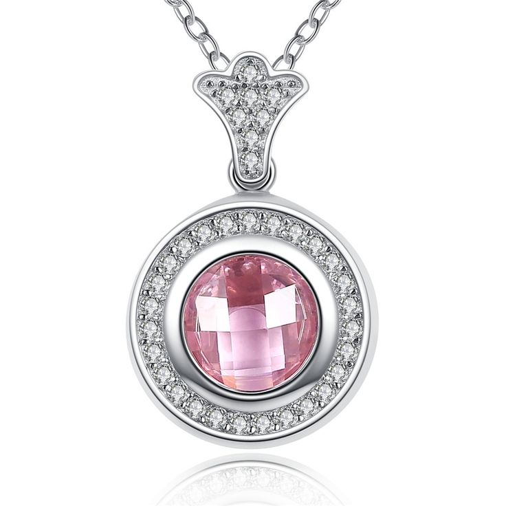 925 Sterling Silver Brilliant Legacy Pendant Necklaces With Pink & White CZ //Price: $33.23 & FREE Shipping //     #gems