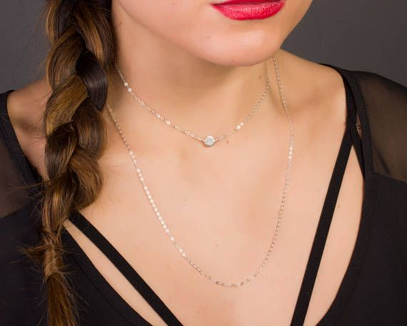 Sterling Silver Choker Necklace • Silver Personalized Necklace • Choker Initial Necklace in Sterling Silver • Silver Dainty Choker |0270-2NM