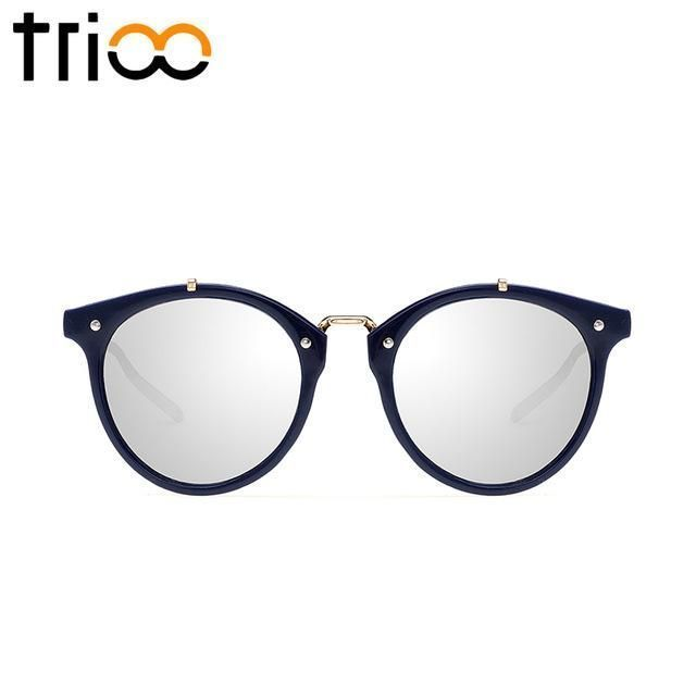 Trioo vintage round sunglasses women fashion designer glasses …- Trioo vintage…