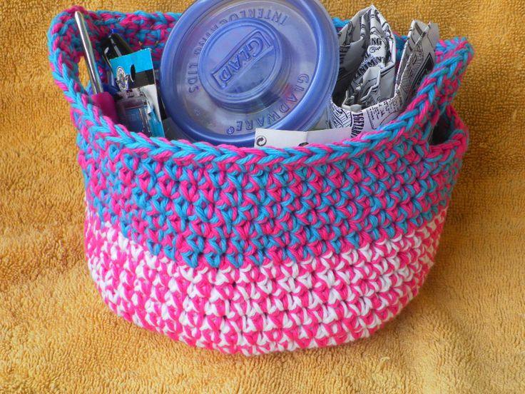 Handmade Cotton Baskets : Handmade multi colored cotton baskets by yarntoafghan on