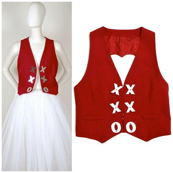 Vintage di MOSCHINO CHEAP and CHIC cuore estirpare specchio pulsanti Gilet Vest