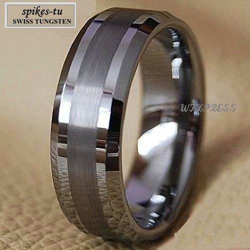 Titanium color dos tonos tungsten carburo wedding band anillo de los hombres joyería nupcial envío gratis