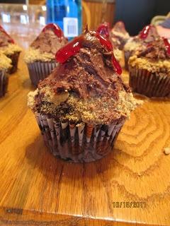 Volcano cupcakes using graham cracker crumbs and cherry pie filling
