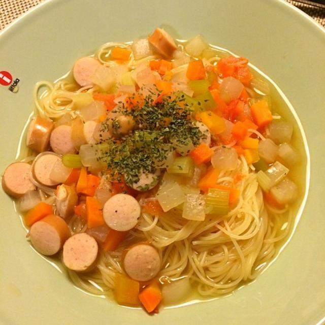 芽の舎の野菜だしでスープパスタ〜  残り野菜イッパイ! - 11件のもぐもぐ - スープパスタ by akane11T