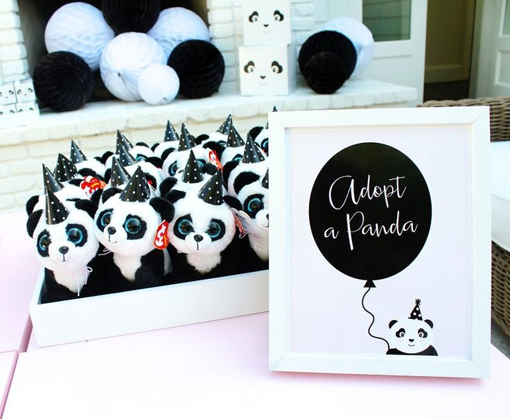 panda party favors - plush pandas | Adopt a pet party | adorable birthday party ideas