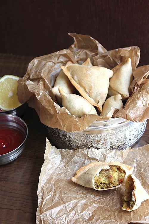 Baked Samosas: Indian Hot Pockets. Potato, onion, peas, carrots, low calorie, comfort food