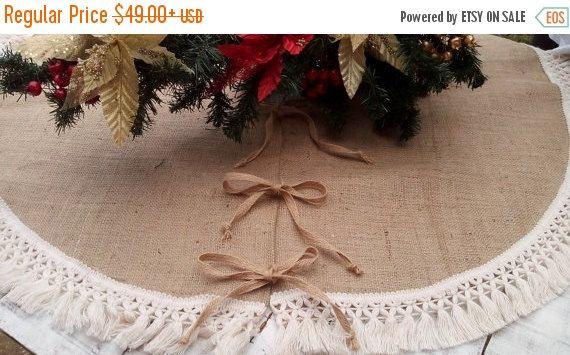 SALE 10% Christmas Tree Skirt  Burlap Tree by AJRUSTICCREATIONS