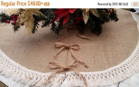 SALE 10% Christmas Tree Skirt  Burlap Tree by AJRUSTICCREATIONS