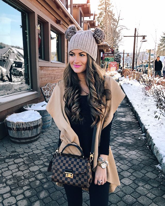 winter outfit. love the louis vuitton bag, double pom pom beanie