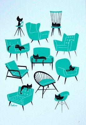 Cat Naps - screen print by Peskimo Illustration