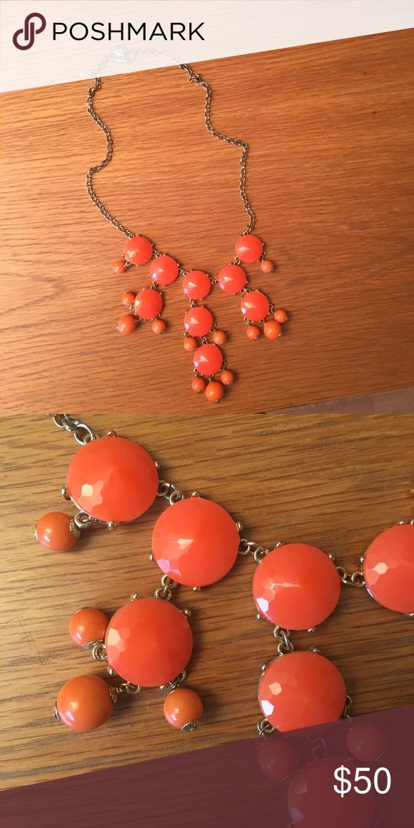 JCrew Statement Coral Necklace JCrew coral bubble statement necklace with gold chain J. Crew Jewelry Necklaces