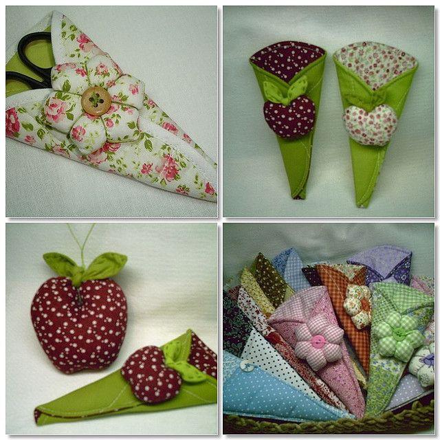 Molde porta-tesouras com agulheiros de flor ou maçã
