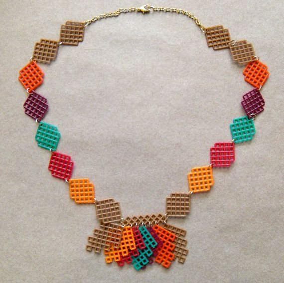 Plastic Canvas Necklace  Fall Leaves by gailscrafts on Etsy