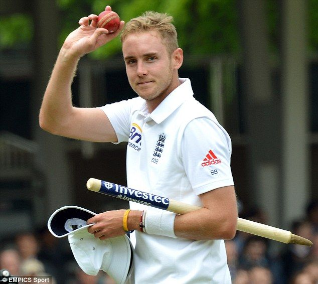 Cometh the man: Englands Stuart Broad holds the match ball after taking five wickets