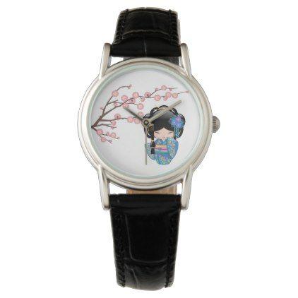 #girly - #Keiko Kokeshi Doll - Blue Kimono Geisha Girl Watch
