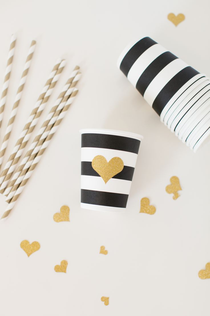 Embellish Paper Party Cups with Gold Hearts cut from the Cricut Explore! #explorecricut