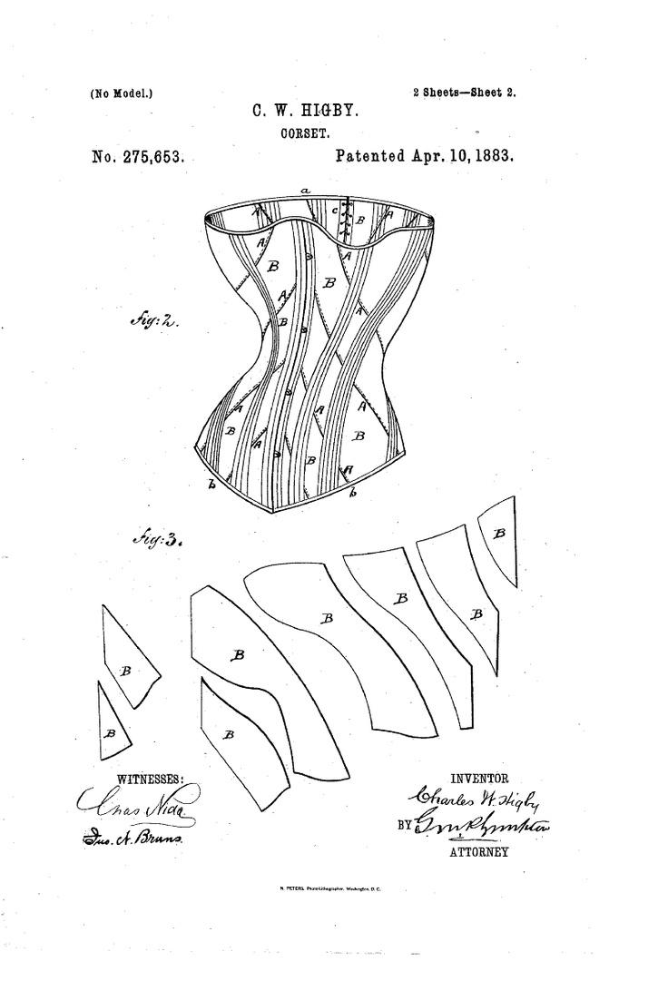1883 Charles W. Higby Patent US275653 - CORSET - Google Patents