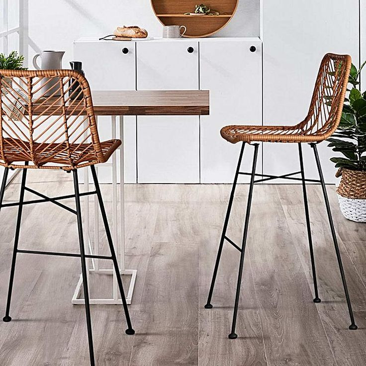 Rediscover a relaxed style in your space with the Rotin Bar Stool, Natural (Set of 2) from Resort Living.