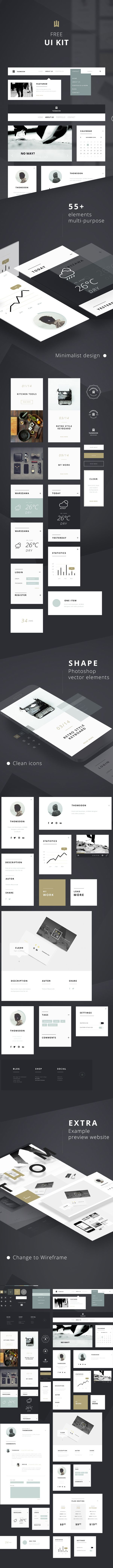 55+ Elements FREE UI KIT | Clean white [DOWNLOAD] on Behance #free #ui #userinterface #uidesign #uikit #design #web #clean