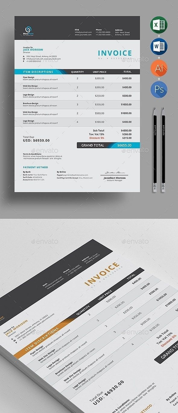 50 Modern Invoice Templates Word Excel Indesign Invoice Templates Invoice Template Word Invoice Design