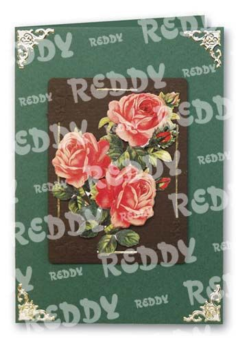 3D-Die-Cuts Flowers, Size A4, pink-red Roses-82100