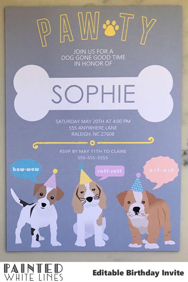 puppy birthday invitation template