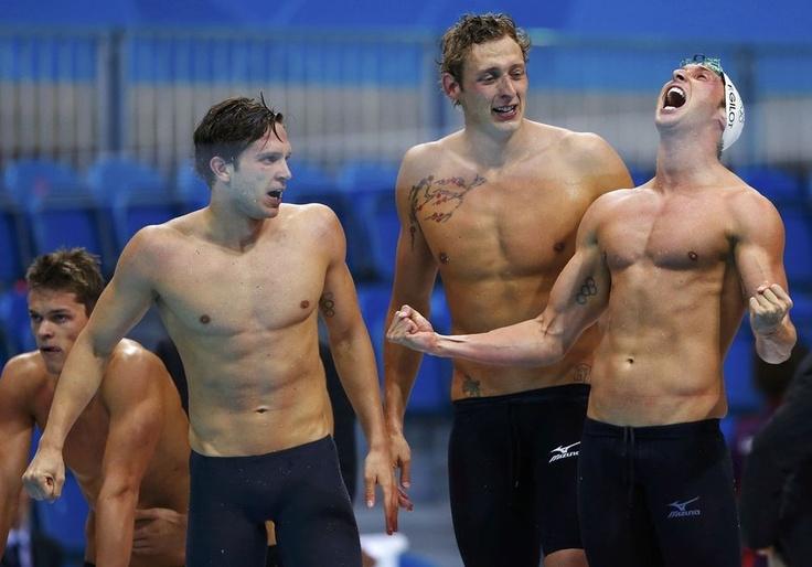 Clément Lefert, Amaury Leveaux, Fabien Gilot et Yannick Agnel - Relais 4x100 mètres nage libre en or - London 2012