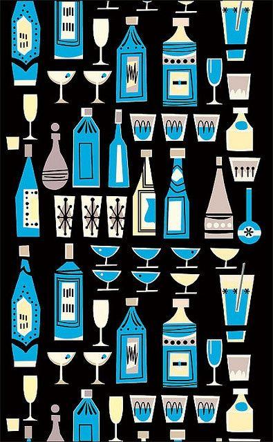 Cocktail Pattern | Mid-Century Modern Graphic Design