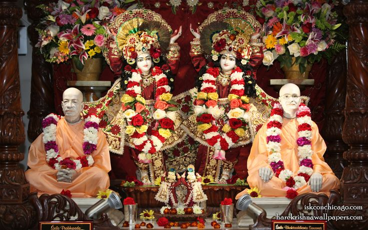 To view Gaura Nitai with Acharyas Wallpaper of ISKCON Chicago in difference sizes visit - http://harekrishnawallpapers.com/sri-sri-gaura-nitai-with-acharyas-iskcon-chicago-wallpaper-001/