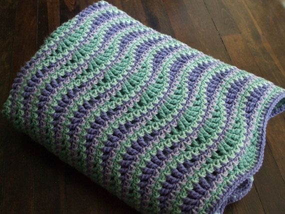 Green Crochet Afghan Pattern : Wave Afghan in Green and Purple - Crochet Throw Blanket ...